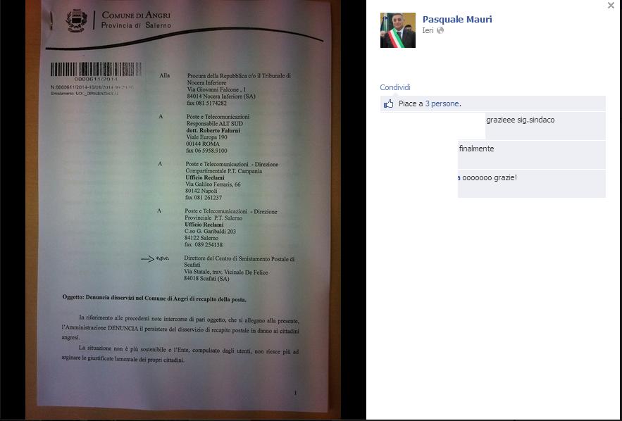 Angri il sindaco mauri querela le poste per il mancato for Recapito postale