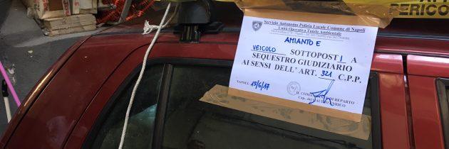 Napoli, Agenti della Unità Operativa Tutela Ambientale hanno sorpreso due napoletani che smaltivano amianto